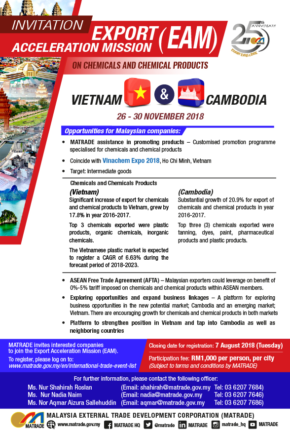 Export Acceleration Mission (EAM) on Chemicals and Chemical Products to Vietnam and Cambodia @ Ho Chi Minh, Vietnam  | Ho Chi Minh City | Ho Chi Minh City | Vietnam