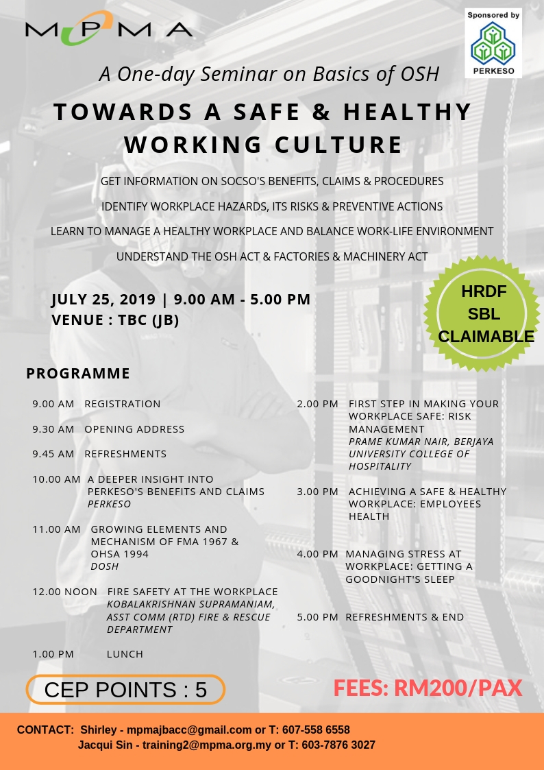 Seminar on Towards a Safe and Healthy Working Culture @ TBC